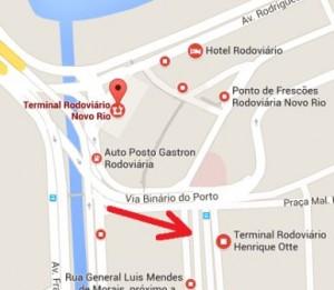 Mapa da rodoviária novo rio e terminal otte