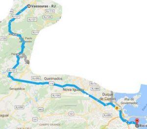 itinerario do rio para vassouras